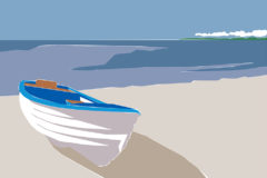 @2018 Mike Temple Illustration   Blue boat on the beach
